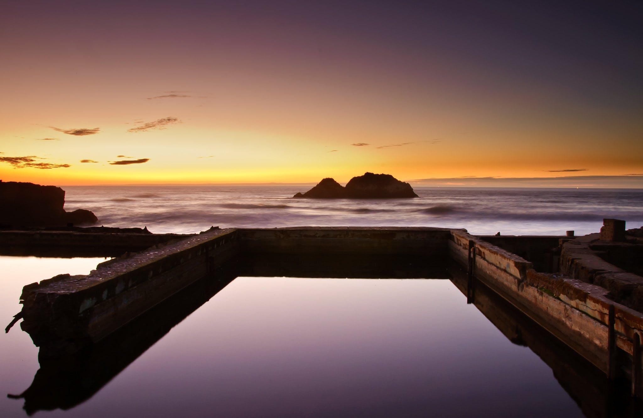Sutro Bath ruins San Francisco at night full moon