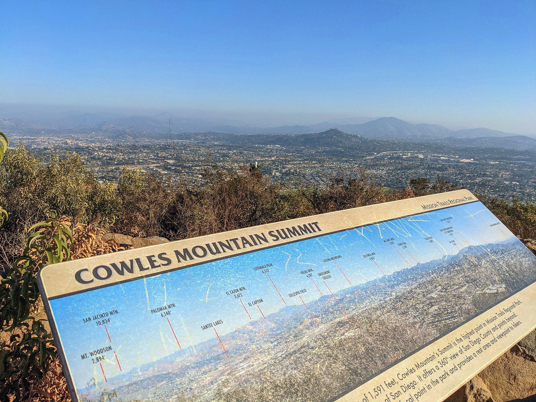 Sign at the top of Mount Cowles summit in San Diego