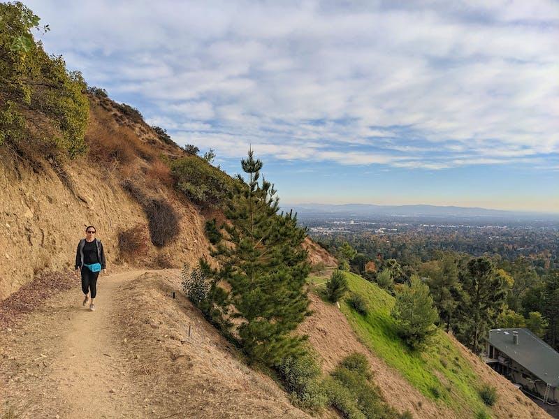 Woman hiking Altadena Crest Trail