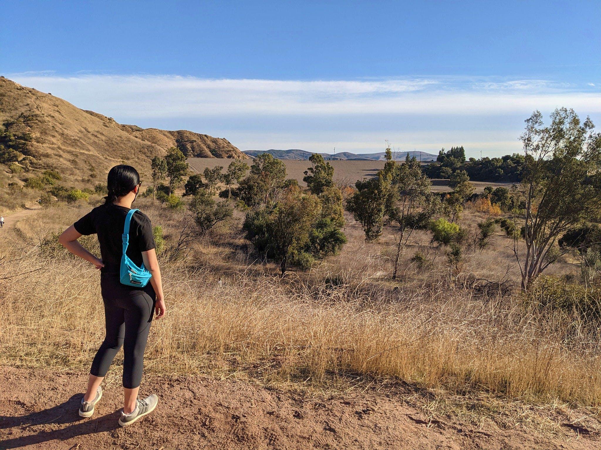 Woman hiking at Santiago Oaks Regional Park in Orange County