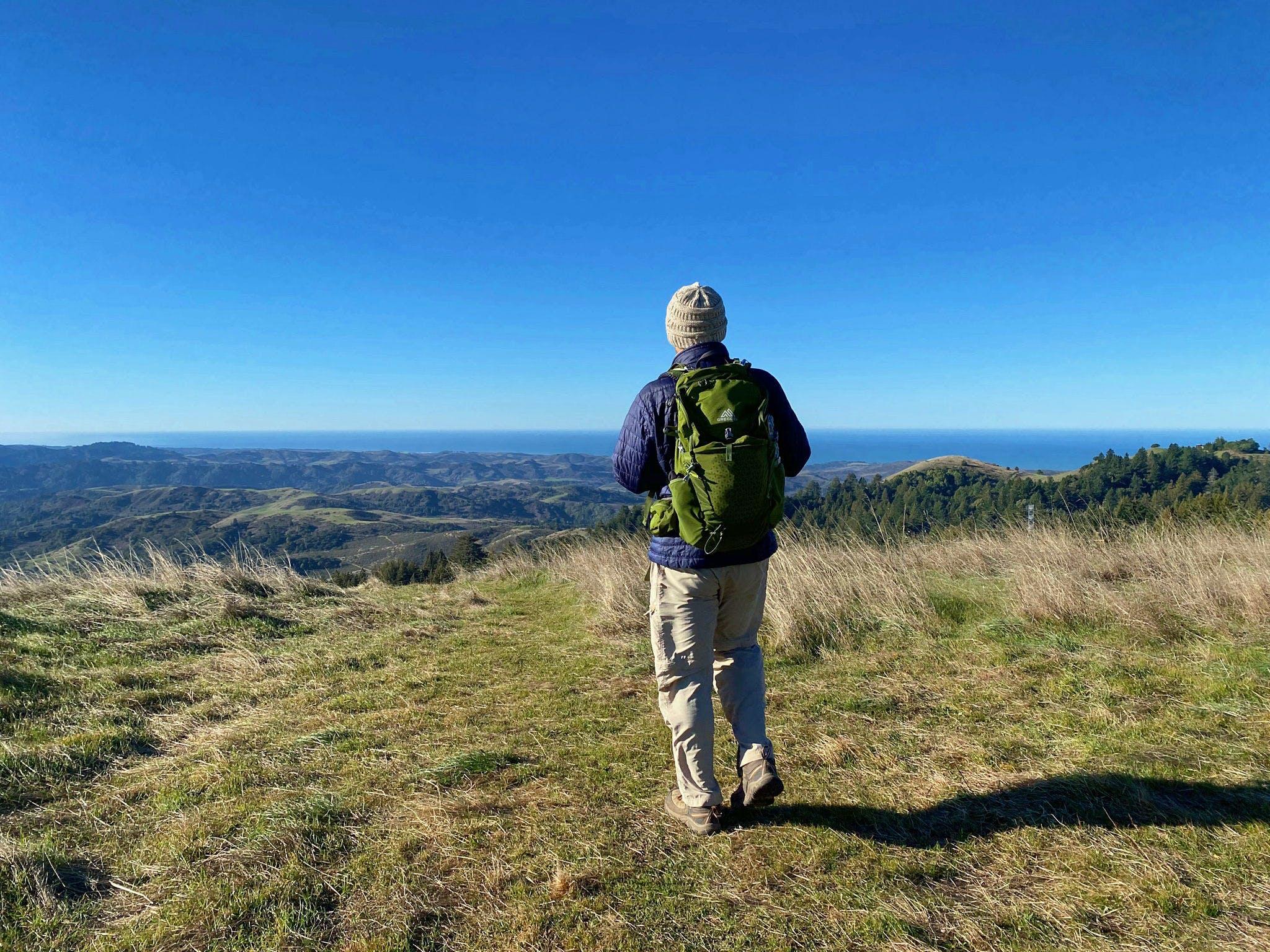 Man standing at viewpoint overlooking Santa Cruz Mountains at Upper La Honda Creek Preserve