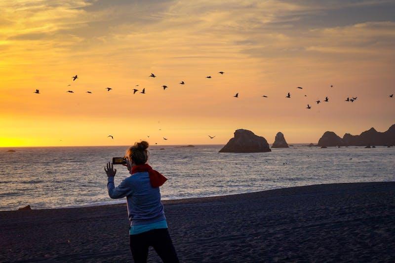 Woman at Got Rock Beach Taking Photos at Sunset