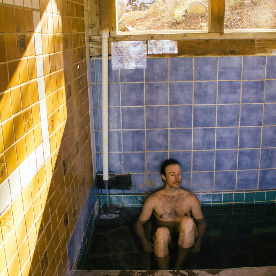 Man in hot spring in Reno Tahoe