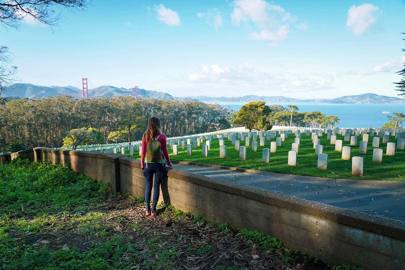 Woman looking out over the San Francisco National Cemetery