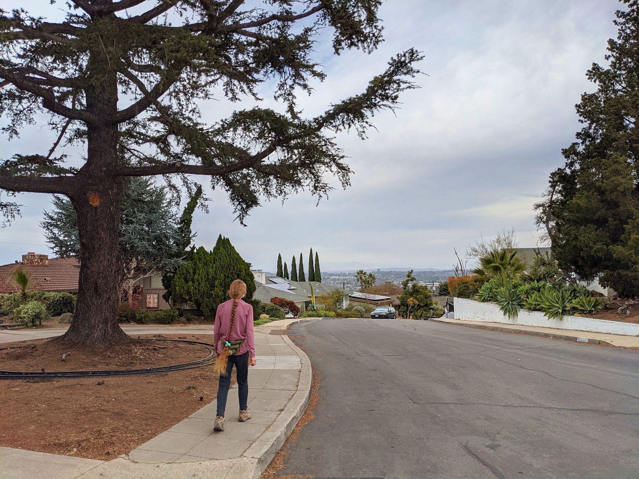 Woman on a walk in La Mesa San Diego County