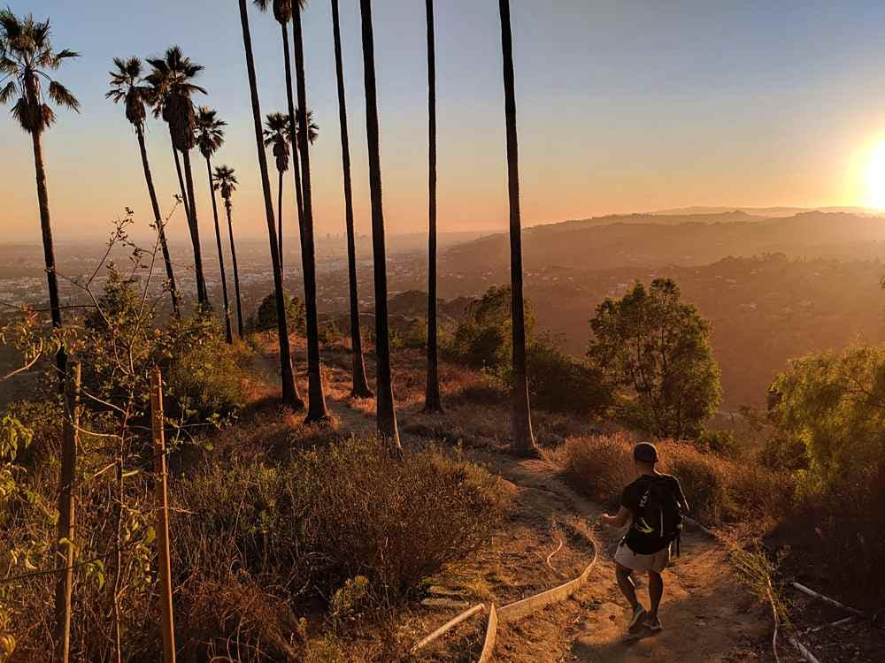Man hiking a trail at Griffith Park in Los Angeles