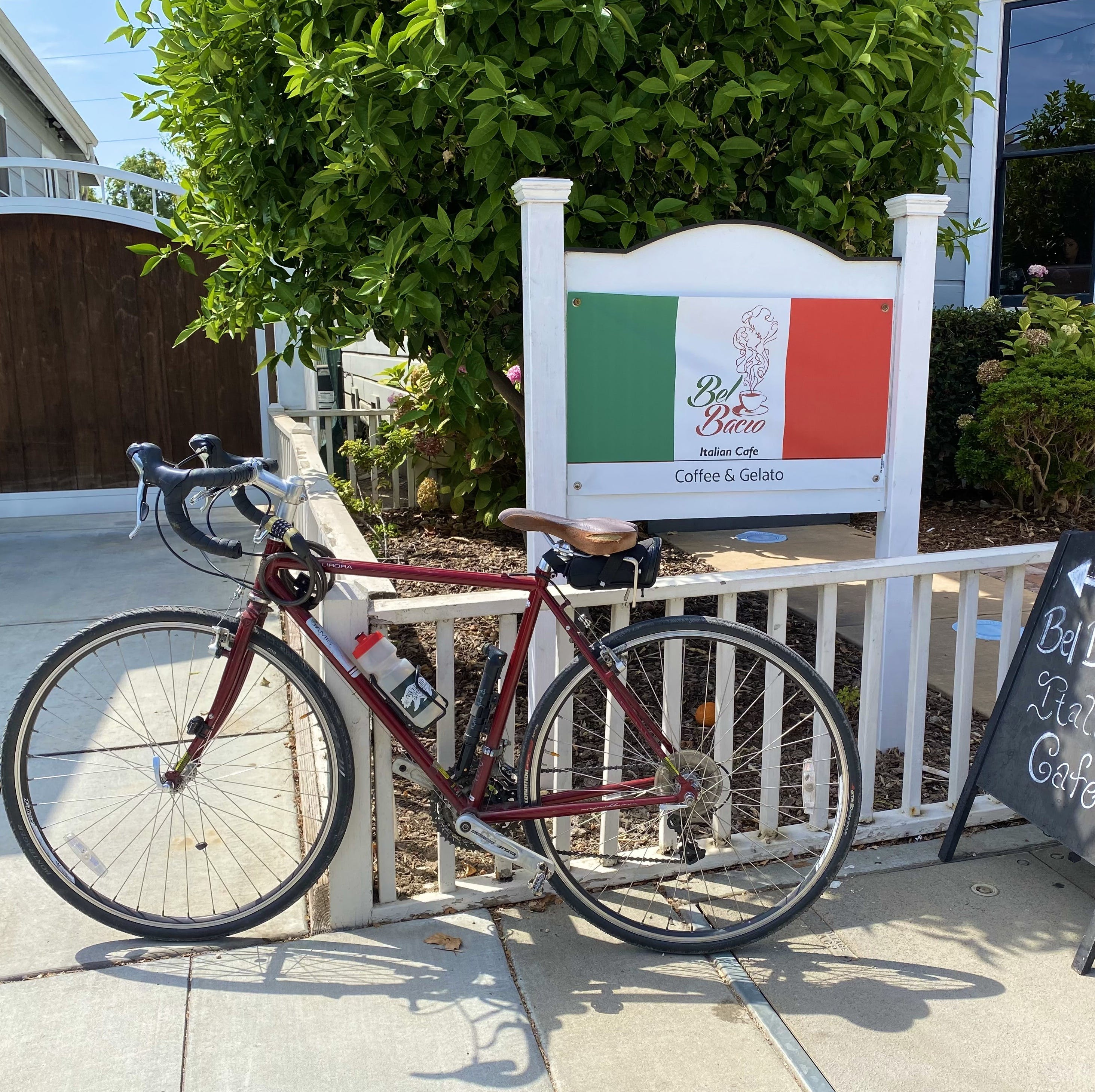 Bike parked in front of a bistro cafe in Little Italy San Jose