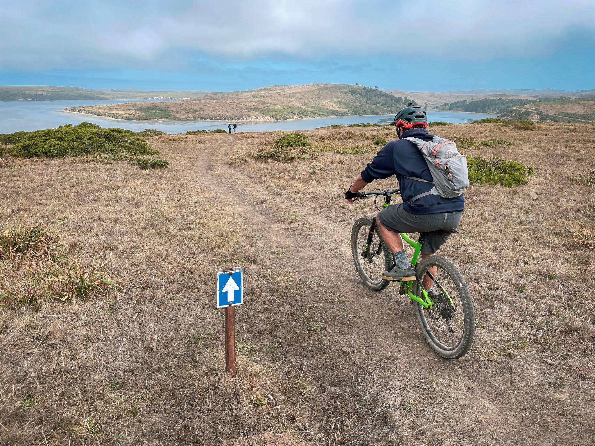 Mountain Biker on Drakes Head Trail Point Reyes