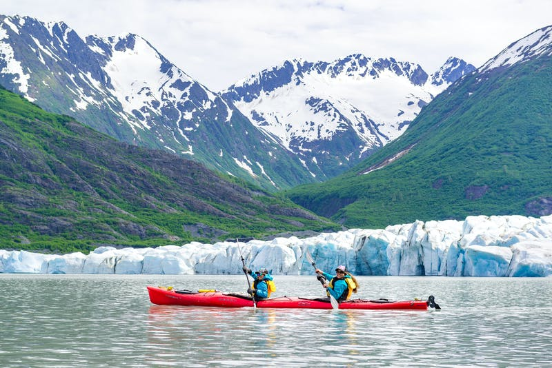 two kayakers near Anchorage Alaska