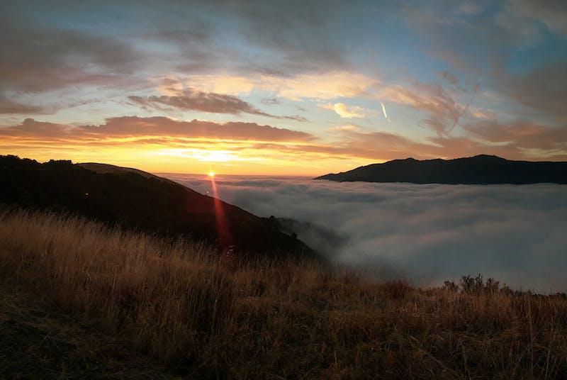 sunrise on the trail up to Mt Umunhum