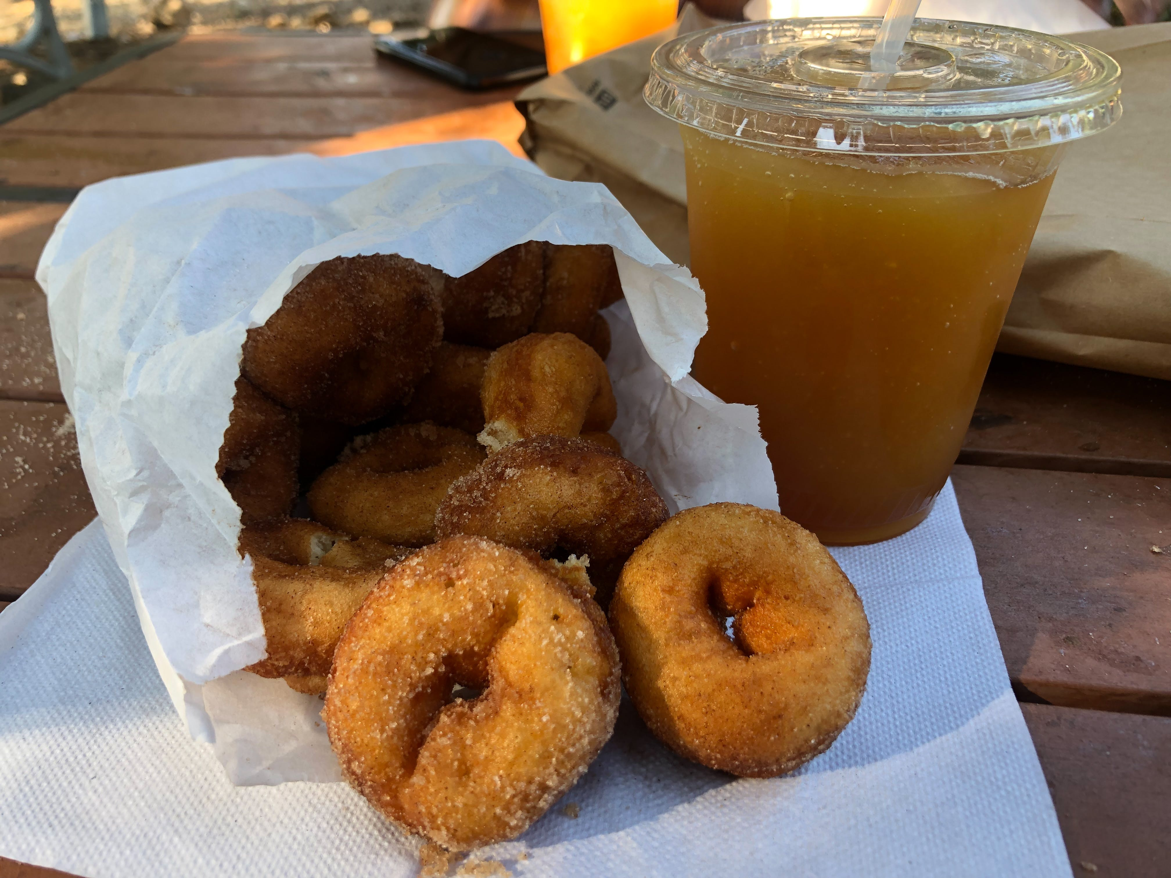 Apple cider donuts and apple cider slushy at Snowline Orchard in Yucaipa