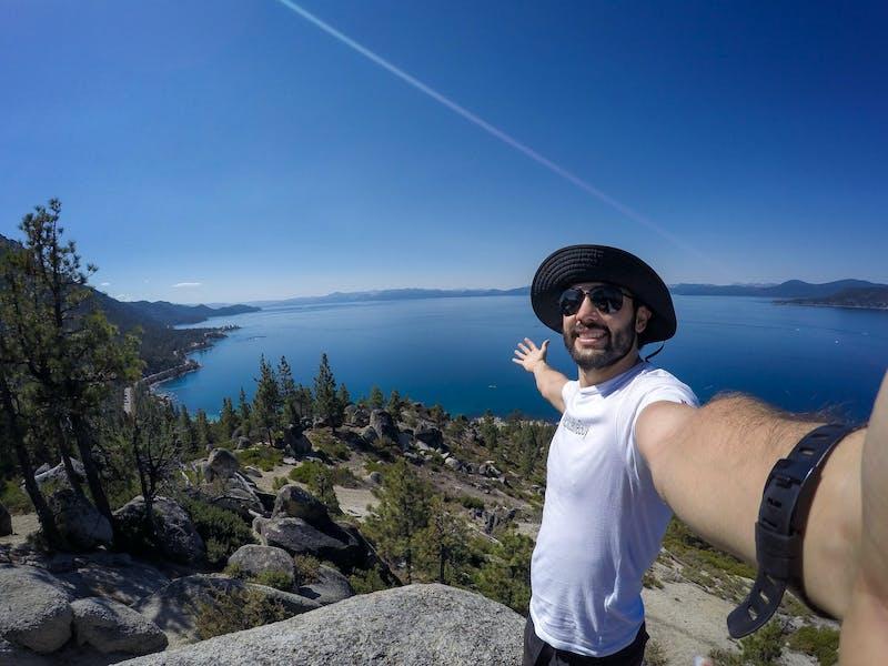 hiker on Tunnel Creek Trail Lake Tahoe