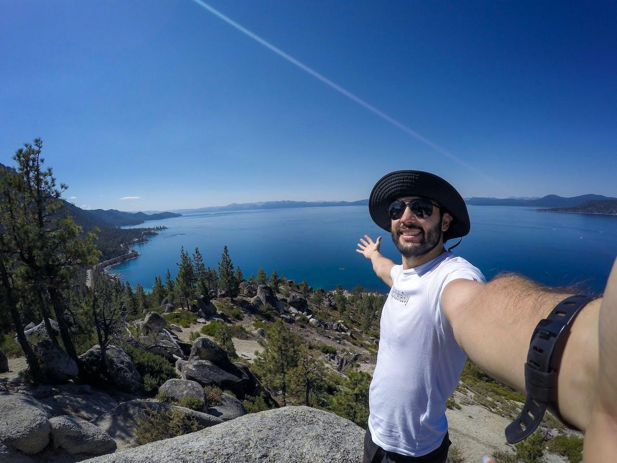 Man hiking Tunnel Creek Trail at Lake Tahoe