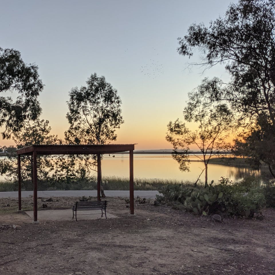 Miramar Lake at sunset in San Diego