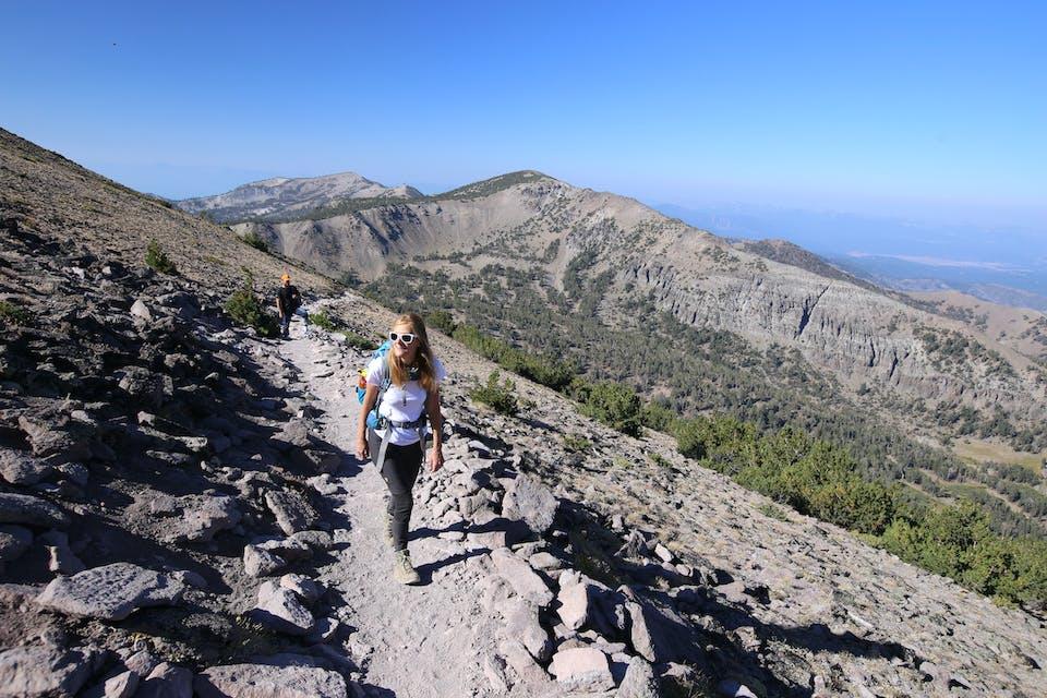 woman hiking Mount Rose by Lake Tahoe and Reno