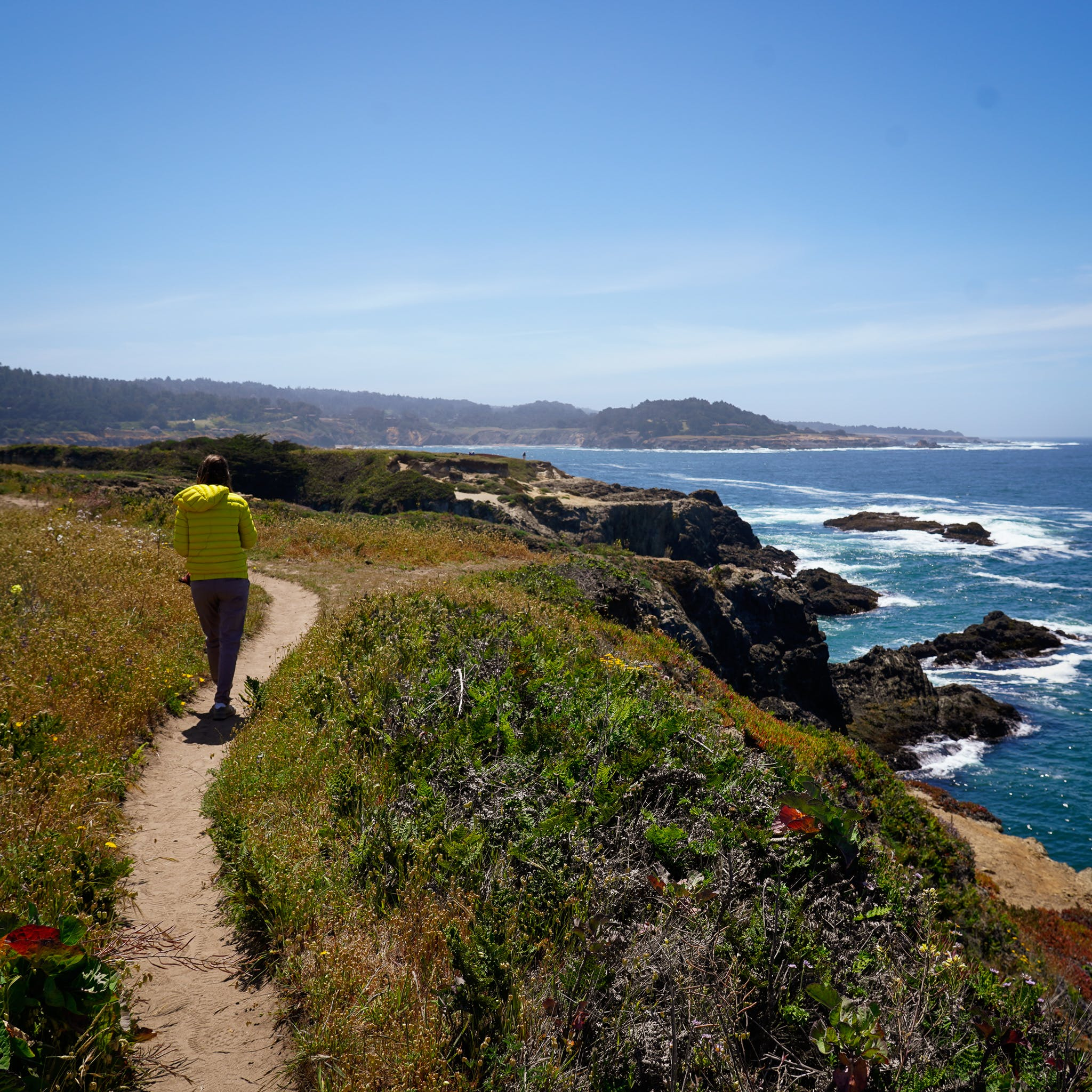 woman hiking at Mendocino Headlands State Park