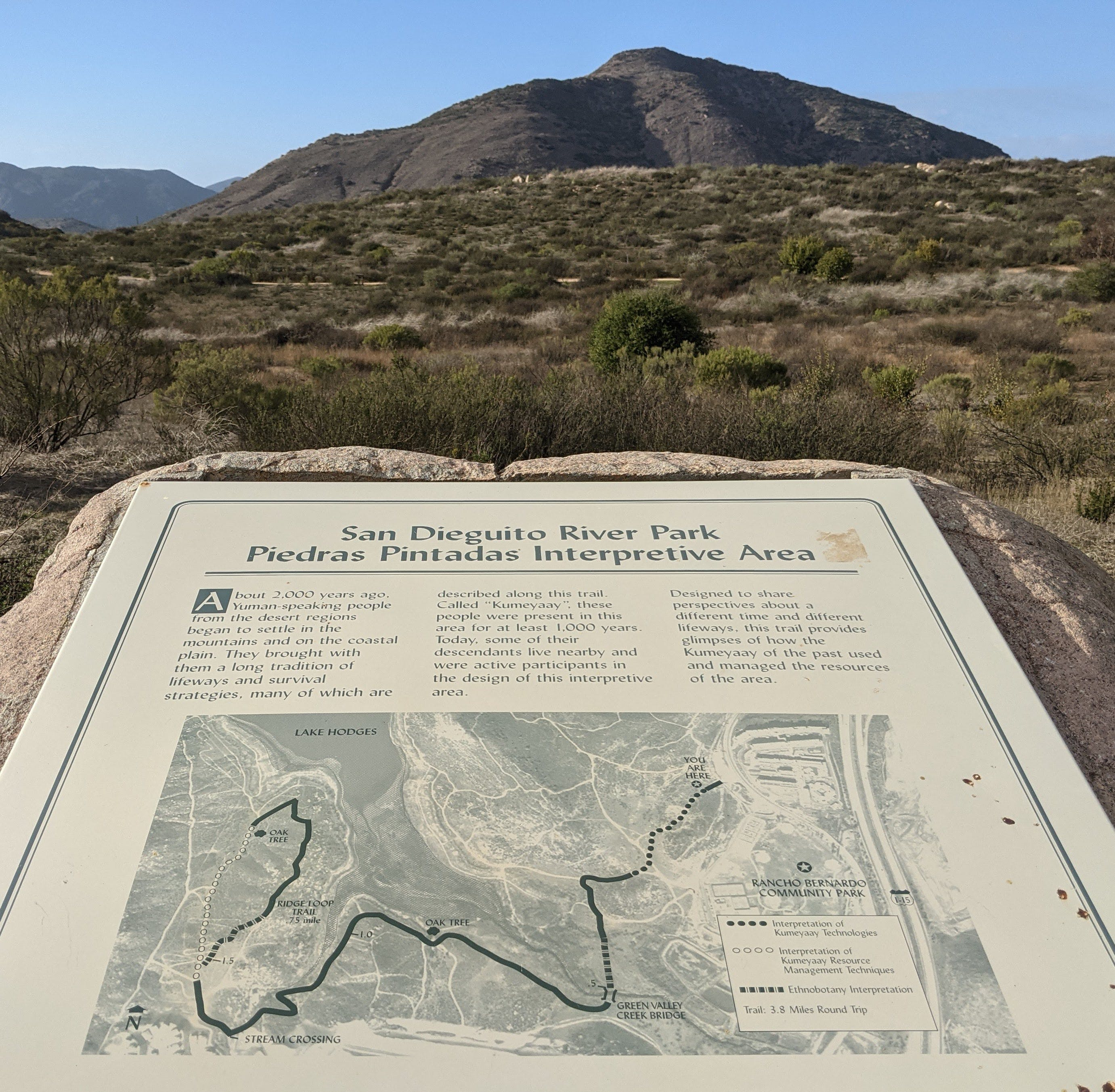Placard rock sign at Lake Hodges in Escondido San Diego County