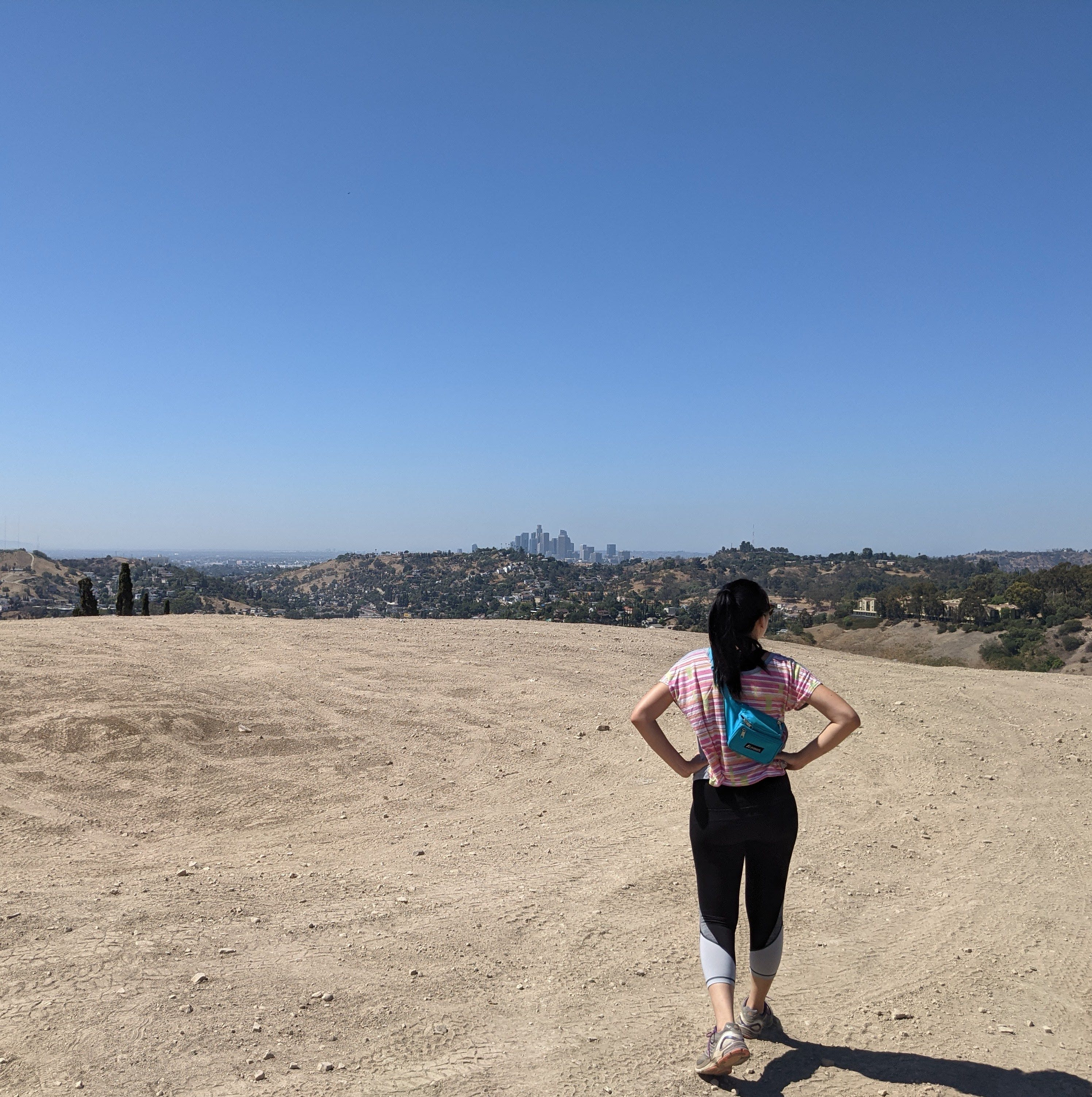 Hiker on a plateau at Elephant Hill Open Space in Los Angeles