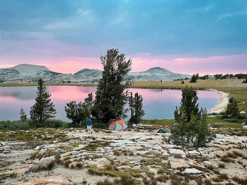 camping at Evelyn Lake in Yosemite National Park