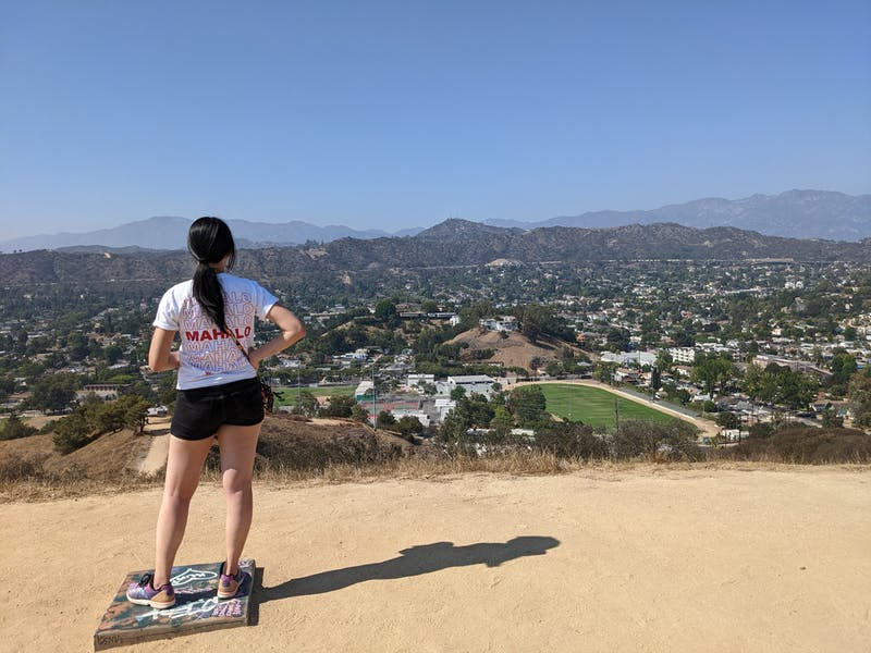 Hiker at Fiji Hill at Occidental College in Los Angeles