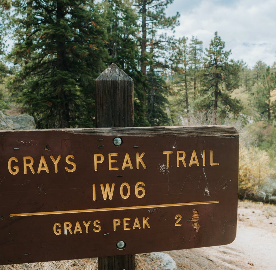 Sign for Grays Peak Trail in Big Bear Southern California
