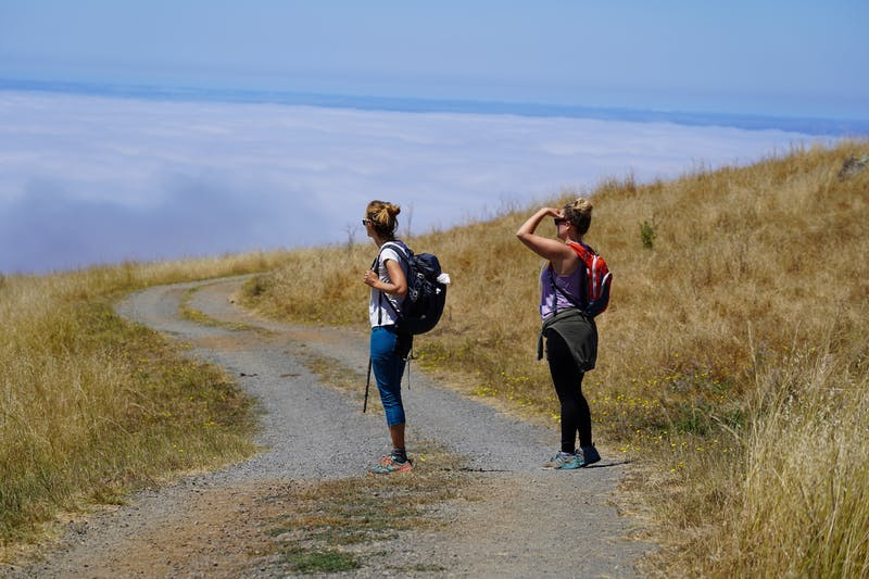 Two women hikers looking out to the foggy coast from a hiking trail at Jenner Headlands on the Sonoma Coast