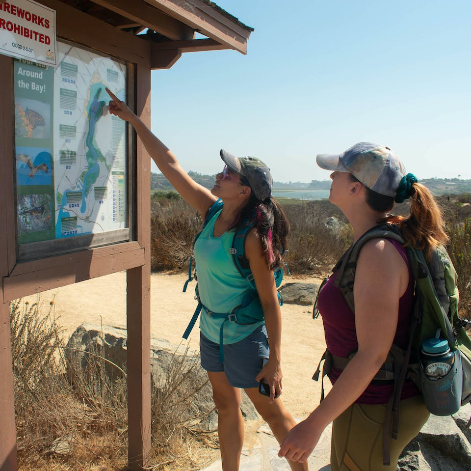 Two hikers at a trailhead map for Upper Newport Bay Nature Preserve in Orange County
