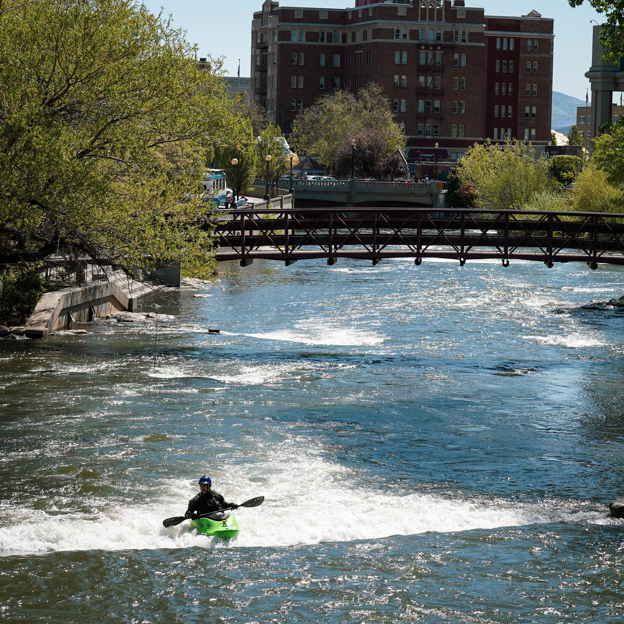 kayaker in the Truckee River Reno downtown