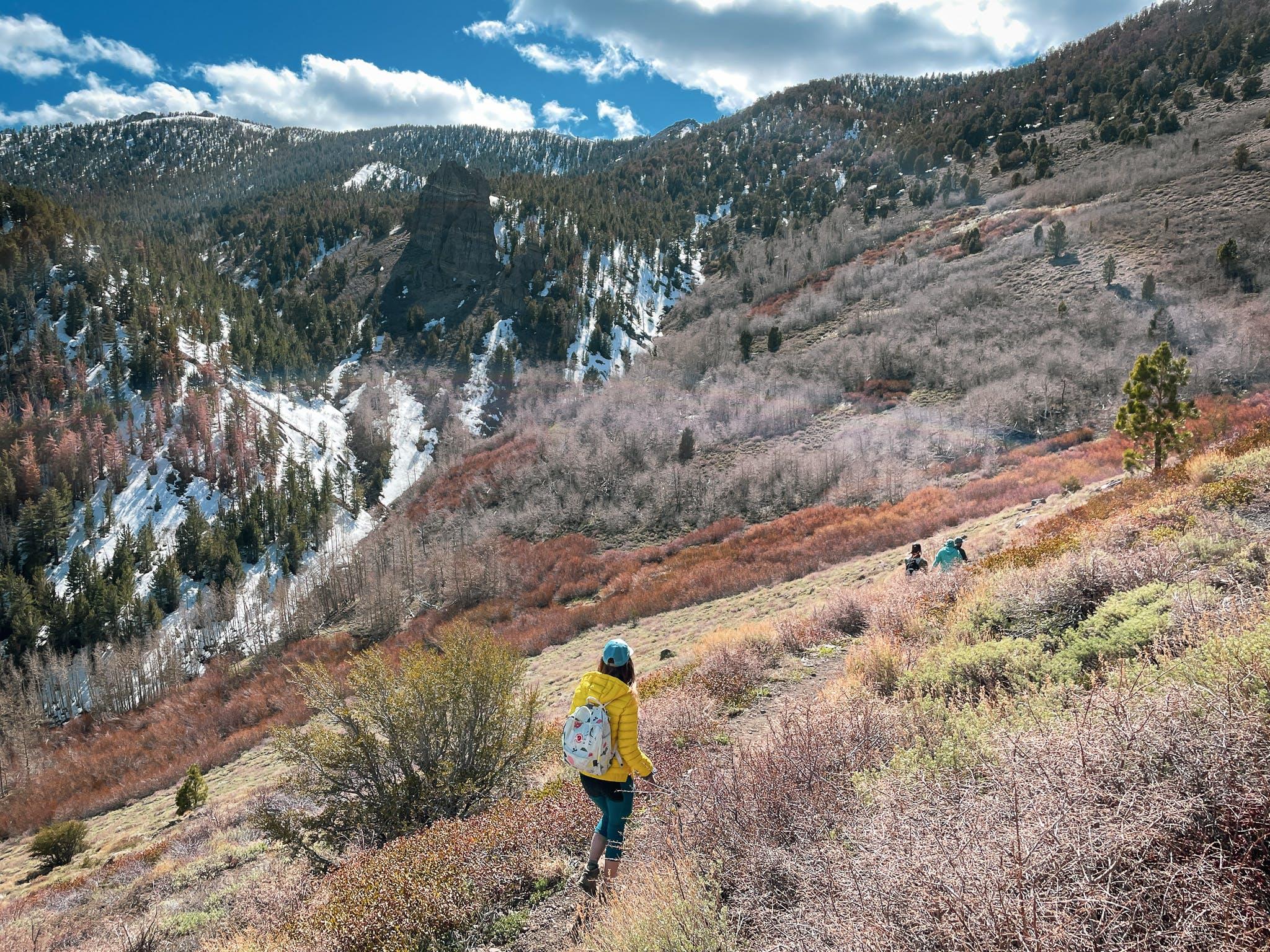 hiking woman on Thomas Creek Trail in Galena Creek Park