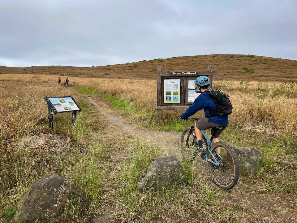 mountain biker Point Reyes Estero Trail to Drakes Head