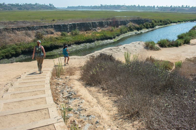 Two hikers go down the stairs towards the waters at Upper Newport Bay Nature Preserve in Orange County