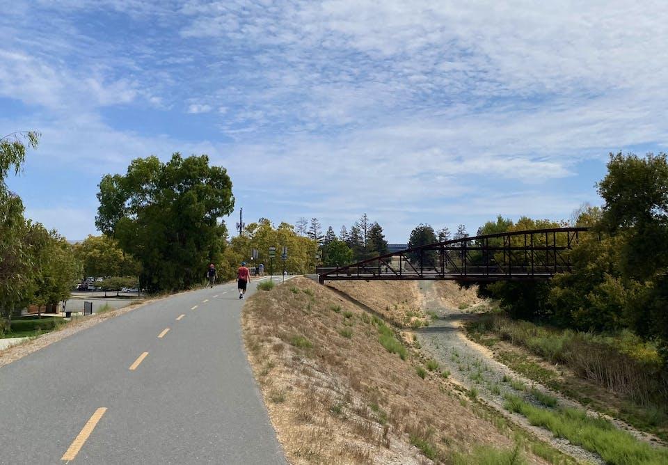 Biker on Guadalupe River Trail in San Jose