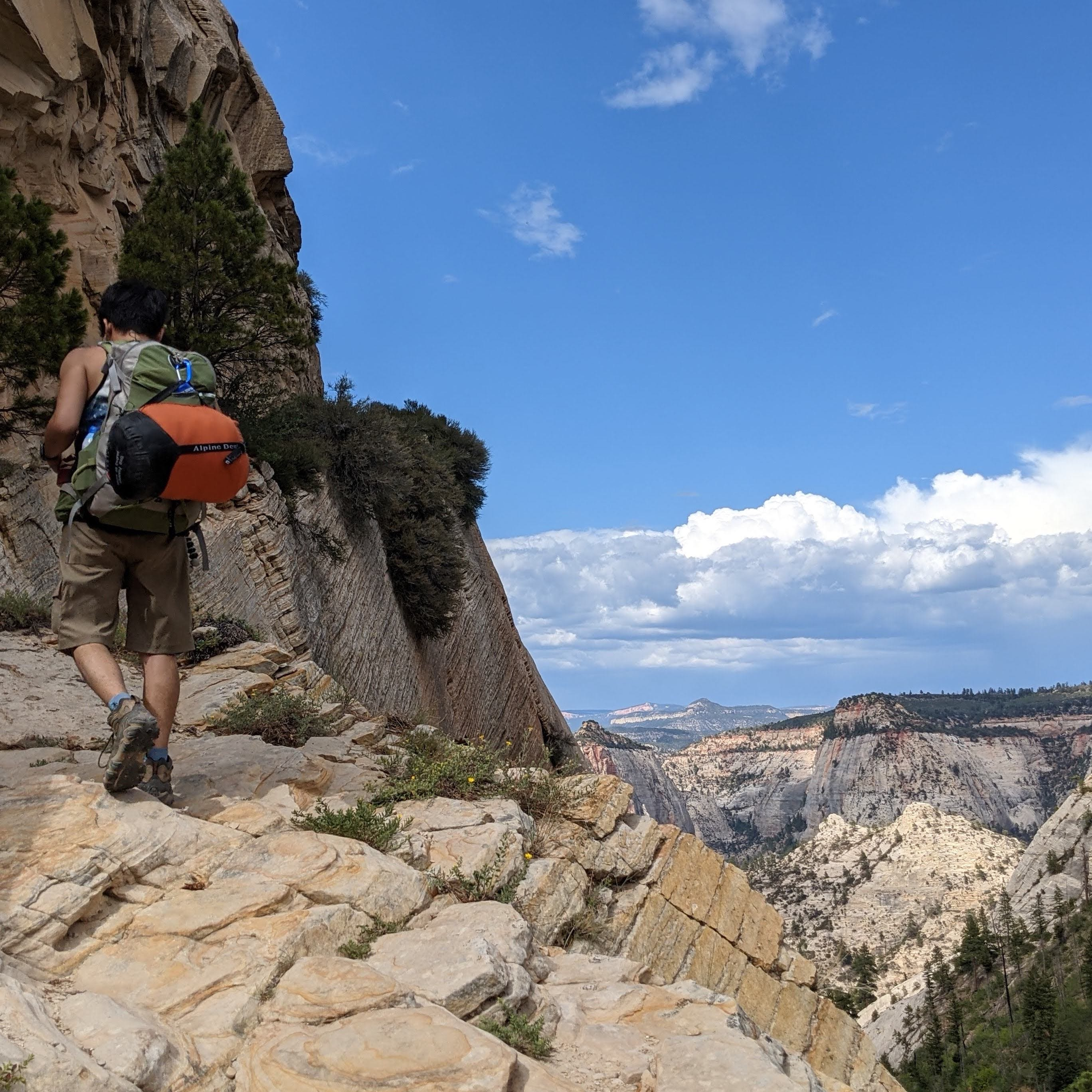 Backpacker on West Rim Trail in Zion National Park
