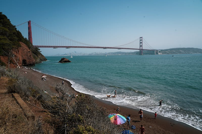 Kirby Cove Marin Headlands with view of Golden Gate Bridge