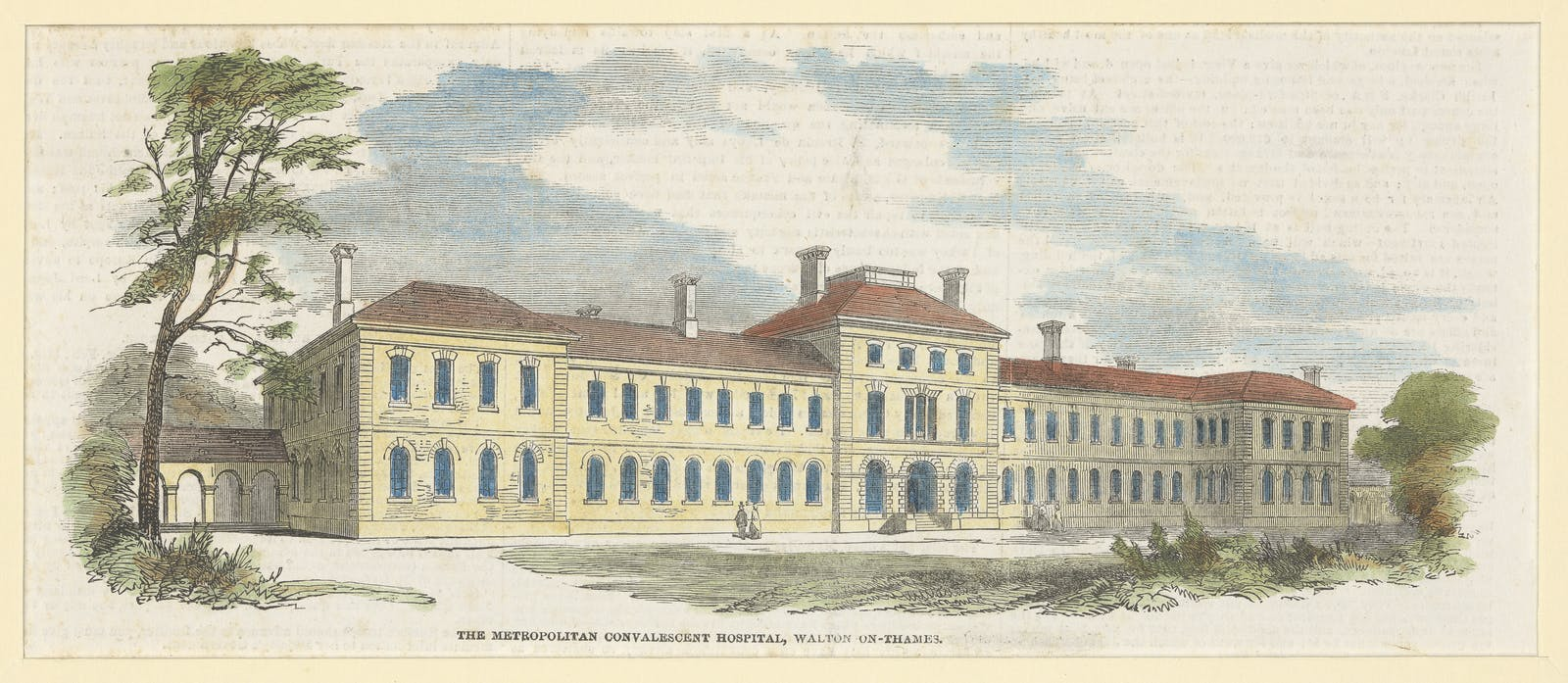 Coloured wood engraving of the front exterior of The Metropolitan Convalescent Hospital, Walton-On-Thames.