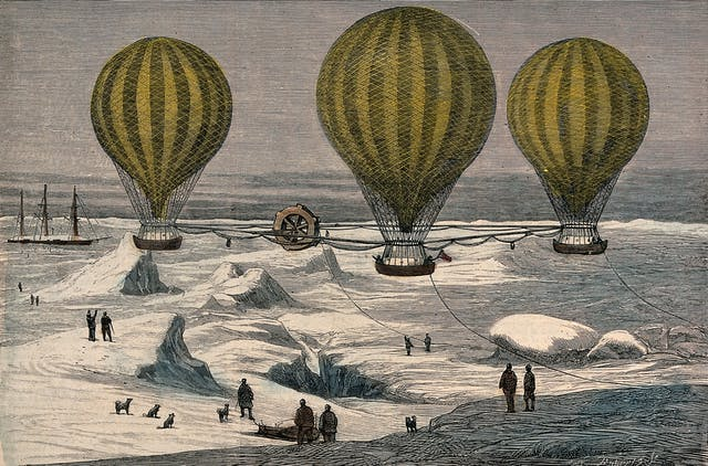 Coloured wood engraving showing people and dogs looking on as three hot-air balloons travel over a snowy landscape.