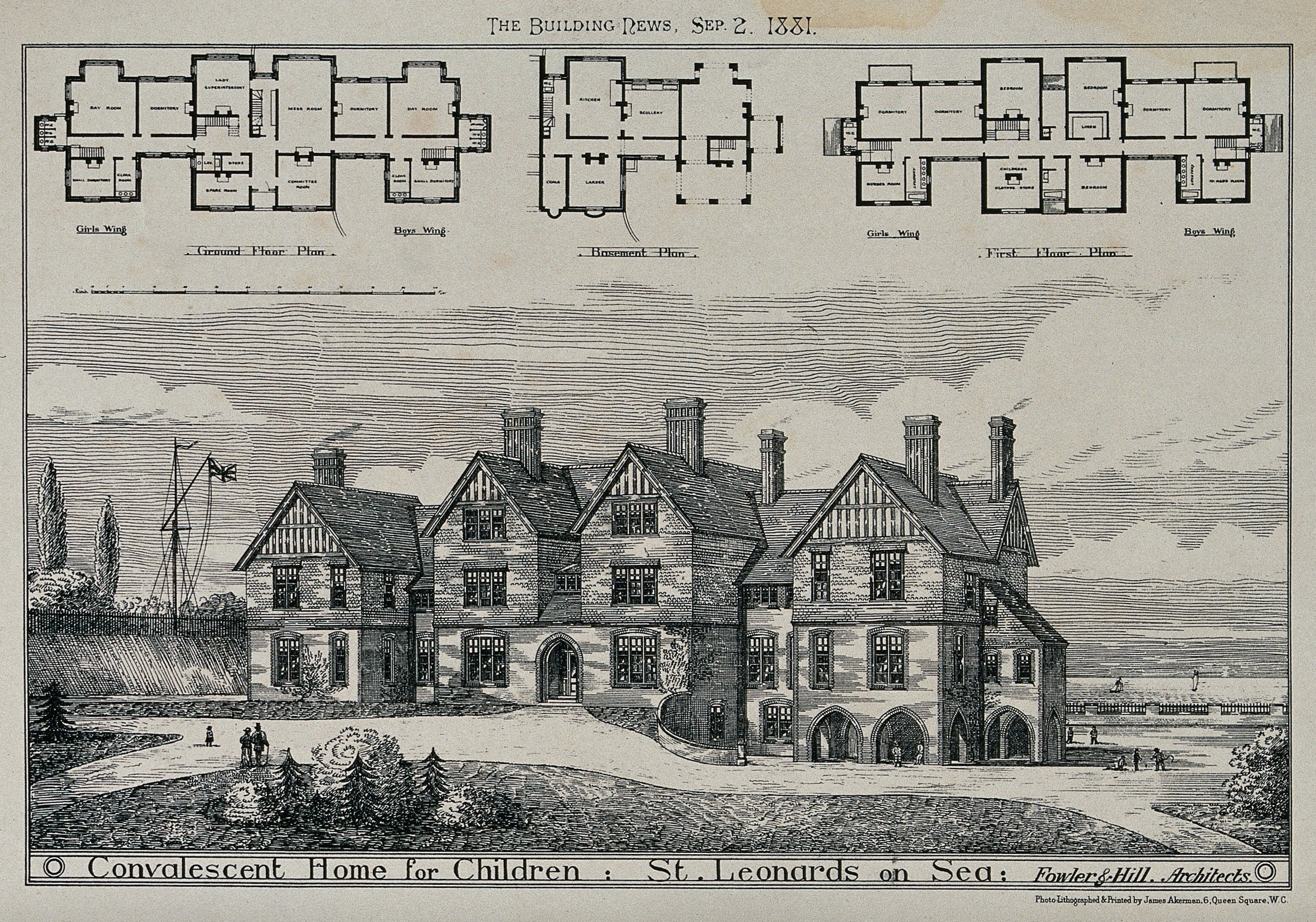 Perspective view of the Convalescent Home for Children, St Leonards. Floor plans are also included.