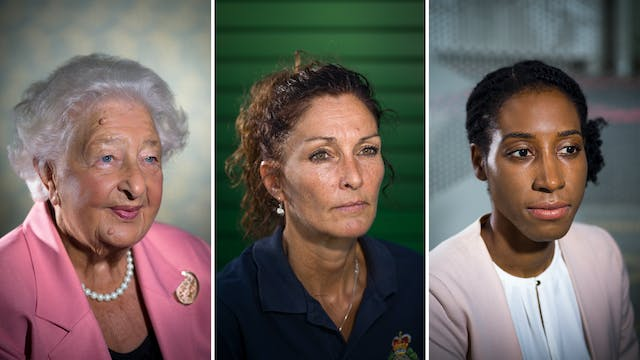 Photographic triptych showing the head and shoulders of three women.