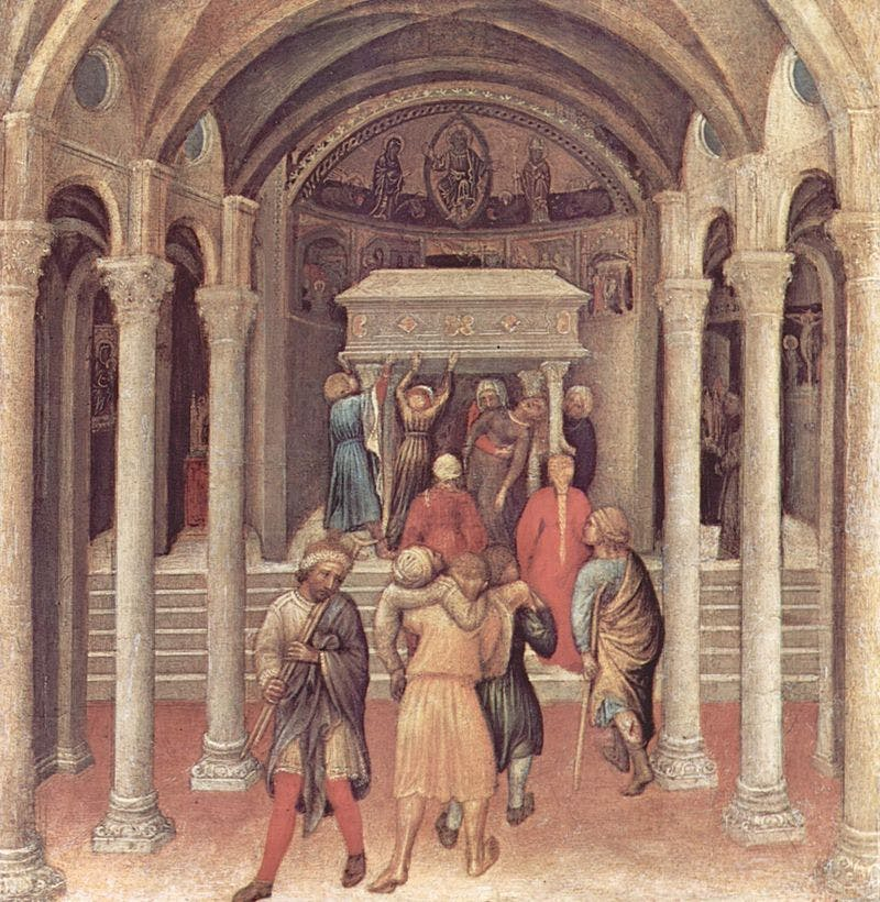 Painting by Gentile de Fabriano depicting the tomb of the saint being carried.