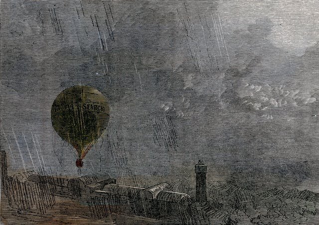 Coloured wood engraving which shows a hot-air balloon leaving the ground in driving rain. A lighthouse can be seen in the distance.