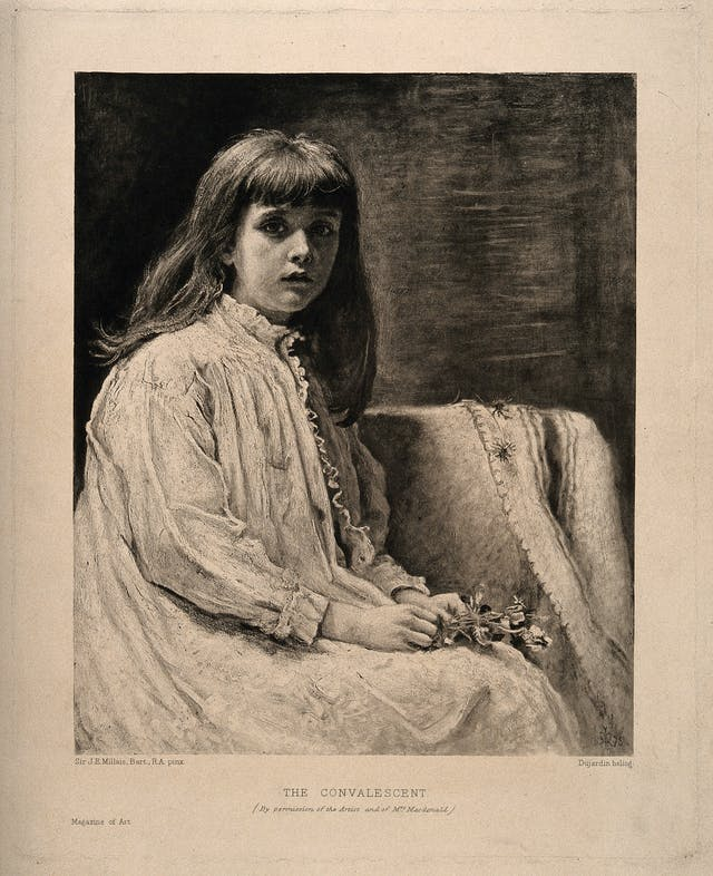 Black and white painting of a young girl in an nightdress.