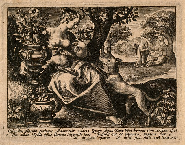 Engraving of a woman in a garden with some flowers, as God blows spirit into Adam