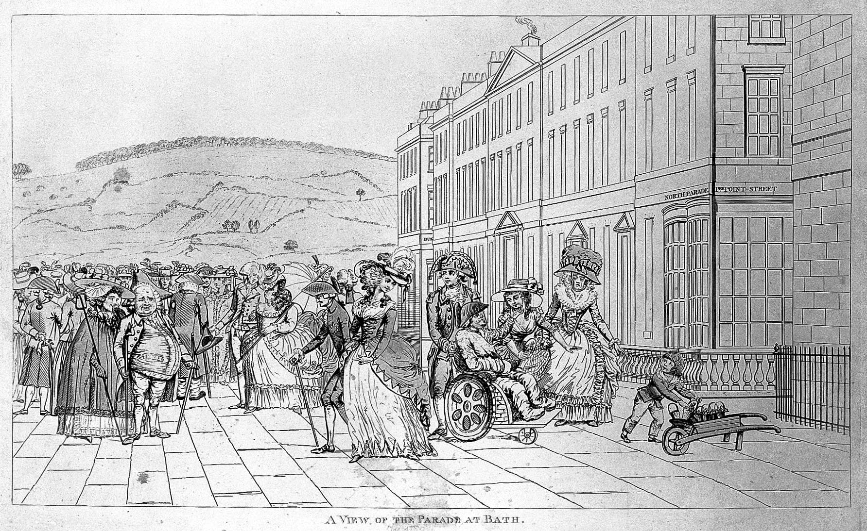 People are depicted strolling along the parade in Bath, wearing fine dress. The image is accompanied by the following caption: