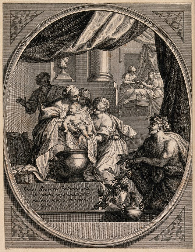 Etching depicting the newly-born Virgin Mary being washed by maids, as Bacchus waits by the bath. The lettering reads: Vineae florentes dederunt odorem suum, surge amica mea, speciosa mea, et veni. Cantic. c. 2 v. 13.