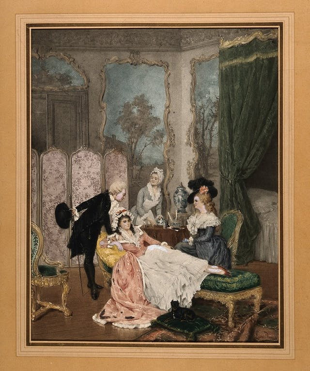 A young woman on a chaise lounge in her boudoir with a visiting couple, while her maid prepares her medicine.