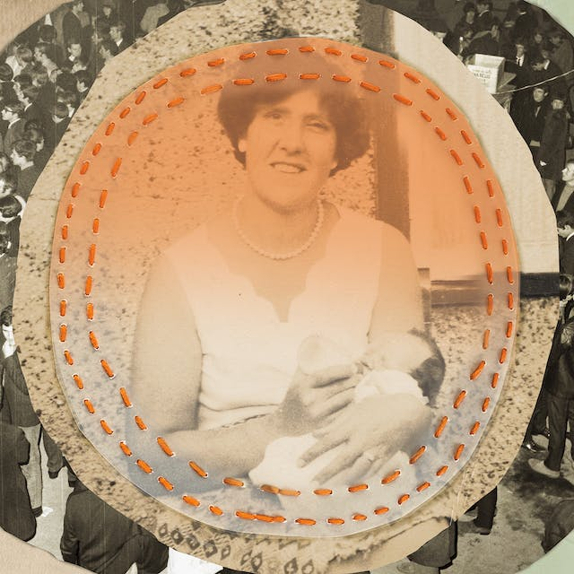 Mix media artwork made up of archive photographs and painted elements. The image shows a sepia toned photograph of a woman from the waist up sitting outside a house with a small baby in her left arm, feeding it with a bottle in her right hand. She is wearing a white sleeveless blouse, a pearl-like necklace and is looking to camera. This photographic print has been cut into a circle a translucent circular sheet placed on top. The two are stitched together with a double row of stitches following the circles. The thread is an orange colour. In a ring around the outside of these two circles is another photograph of a crowd scene from the 1960 where almost everyone has their backs to the camera. Outside of the ring on the right hand side is an area of light green paint. The texture of the brush strokes can be seen. On the right is the texture of archive paper with the words,