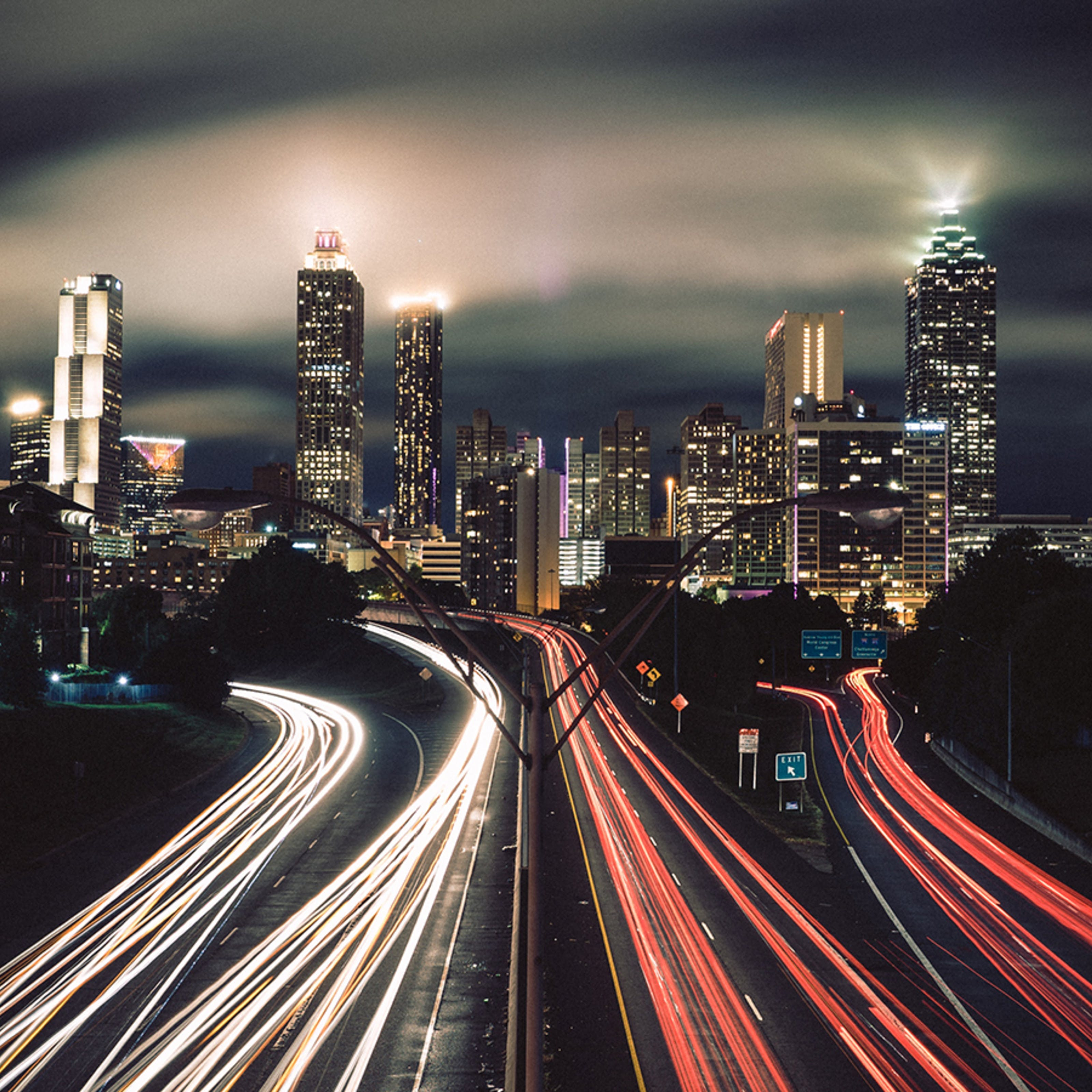 Time lapse photograph of a city at night