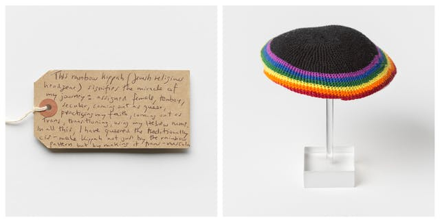 Photographic diptych showing a handwritten brown card label on the left and a rainbow kippah on the right.