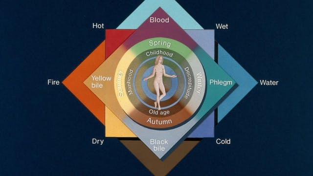 Coloured diagram of the four elements, four qualities, four humours, four seasons, and four ages of man. Naked woman in the centre.