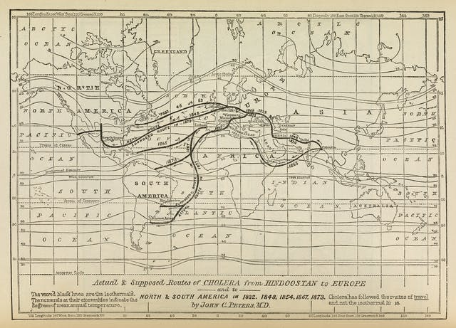 Actual & supposed routes of cholera from Hindoostan to Europe and North America